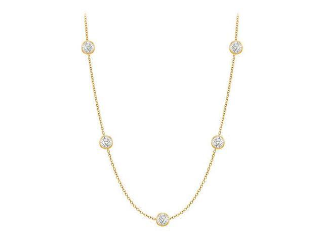 Diamonds By The Yard Necklace in 14K Yellow Gold Bezel Set 0.33 ct.tw