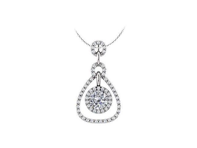 April Birthstone Cubic Zirconia Tear Drop Halo Pendant in 14K White Gold 1.50 CT TGW