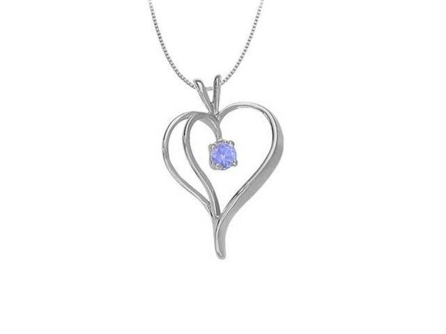 December Birthstone Created Tanzanite Heart Pendant in Sterling Silver 0.33 CT TGW
