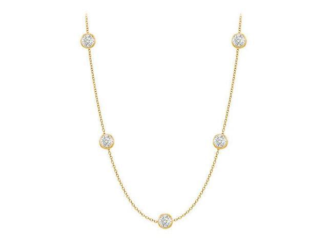 Diamonds By The Yard Necklace in 14K Yellow Gold Bezel Set 0.50.ct.tw