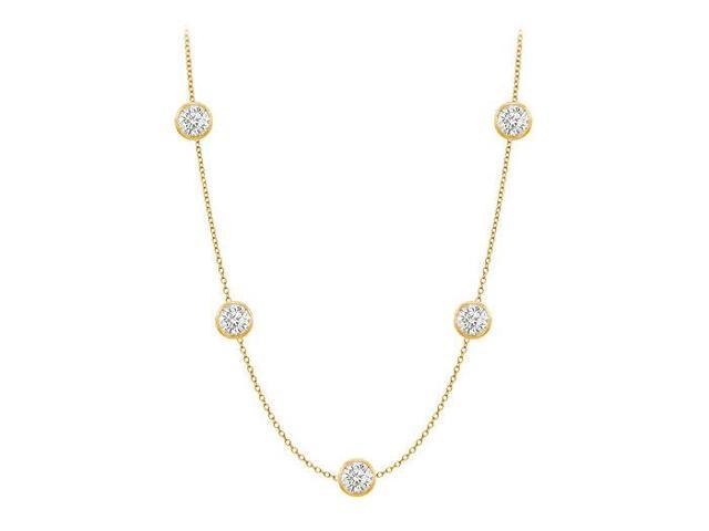 Diamonds By The Yard Necklace in 14K Yellow Gold Bezel Set 0.75 ct.tw