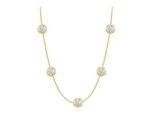Diamonds By The Yard Necklace in 14K Yellow Gold Bezel Set 1ct.tw