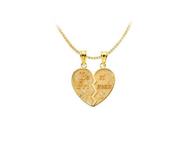 14K Yellow Gold Best Friends Heart Pendant