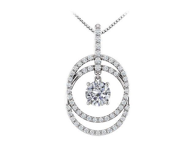 December Birthstone CZ Double Row Circle Pendant 14K White Gold 1.75 CT TGW