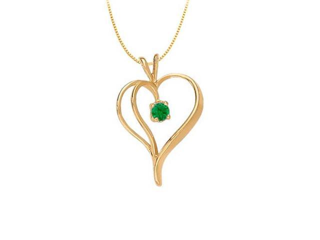 May Birthstone Emerald Heart Pendant in Sterling Silver with Yellow Gold Vermeil 0.33 CT TGW