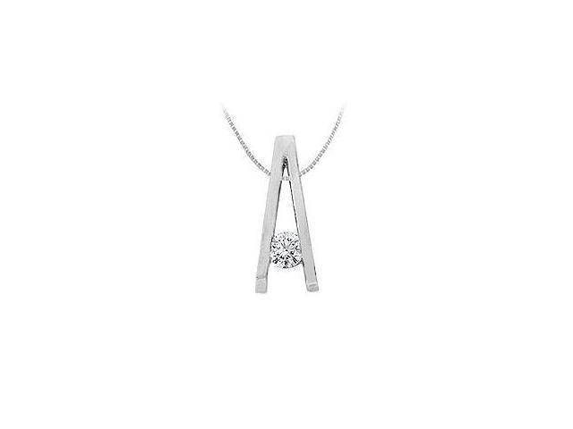 Diamond A Pendant  14K White Gold - 0.25 CT Diamonds