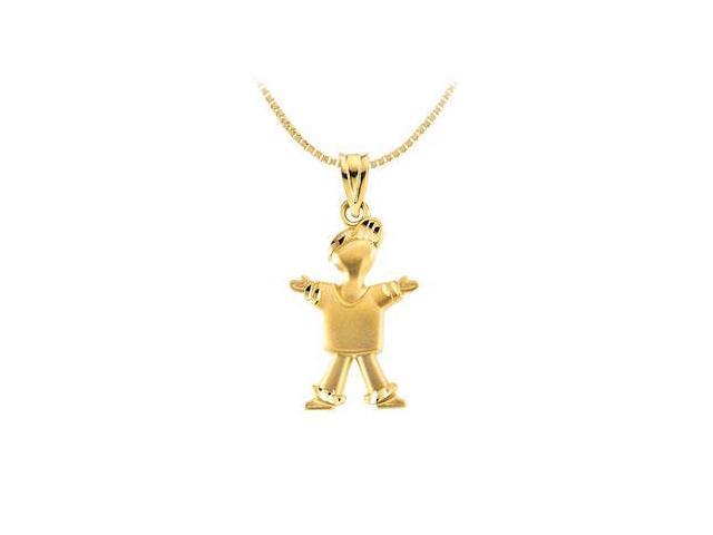 14K Yellow Gold Little Boy Pendant