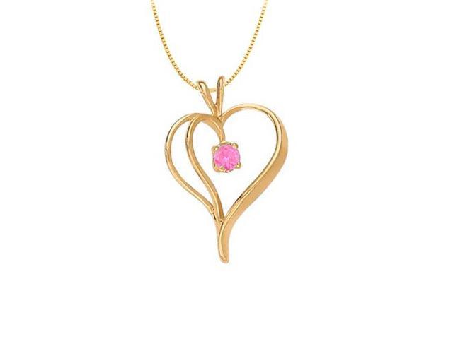 September Birthstone Sapphire Heart Pendant Sterling Silver with Yellow Gold Vermeil 0.33 CT TGW