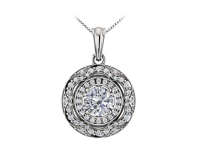 April Birthstone Cubic Zirconia Halo Pendant in 14K White Gold 1.50 CT TGW