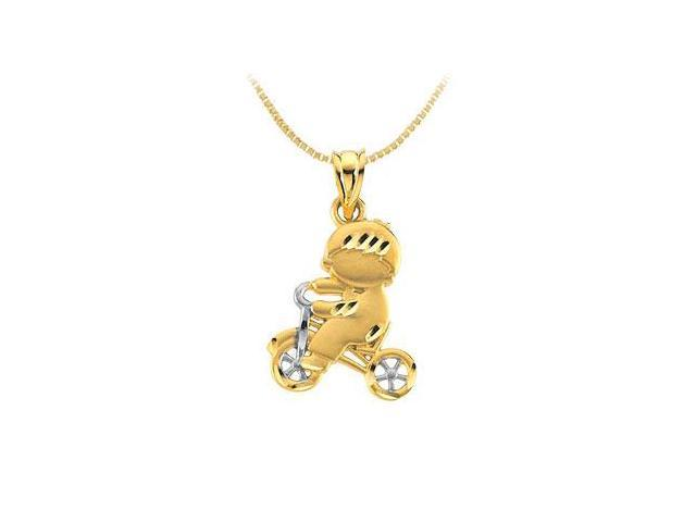 Child on Tricycle Pendant 14K Two Tone ( White and Yellow ) Gold