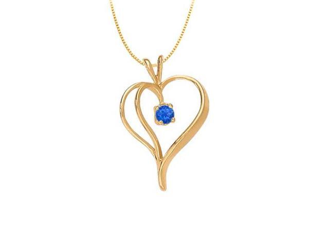 September Birthstone Sapphire Heart Pendant in Sterling Silver with Gold Vermeil 0.33 CT TGW