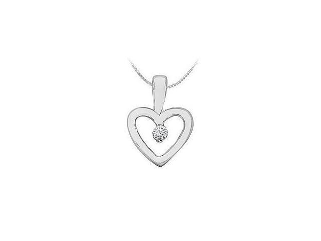 Diamond Heart Pendant  14K White Gold - 0.10 CT Diamonds
