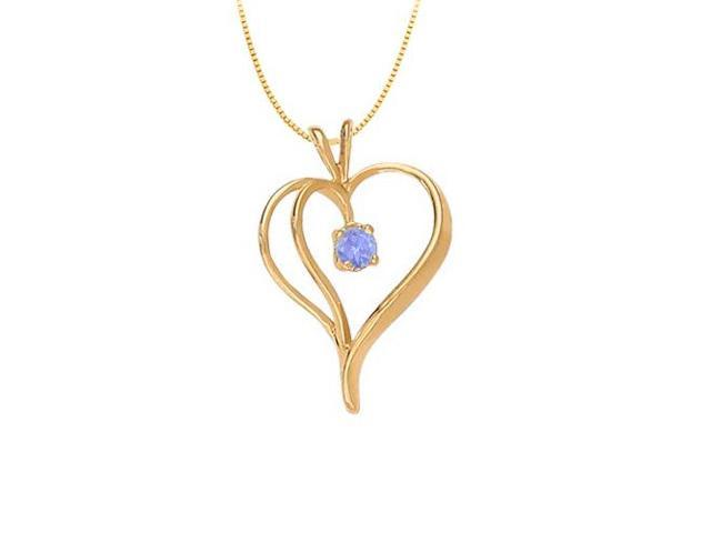 December Birthstone Tanzanite Heart Pendant in Fine Silver with Yellow Gold Vermeil 0.33 CT TGW