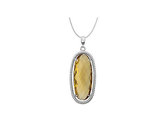 Rope Style Rhodium Plating .925 Sterling Silver with Oval Honey Quartz 18 Inch Necklace 25X10 MM