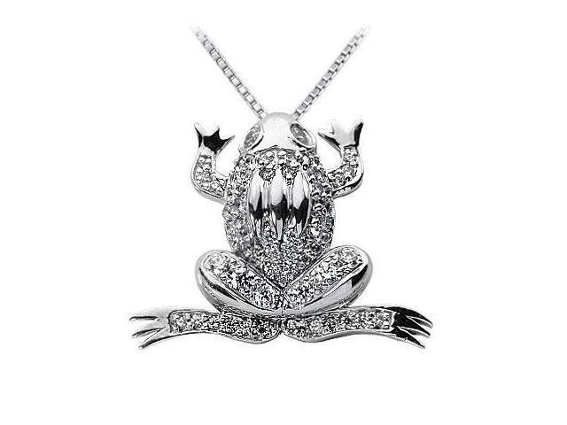 Diamond Frog Pendant  14K White Gold - 1.00 CT Diamonds