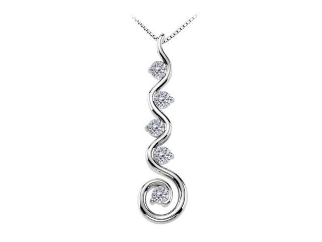 April Birthstone and Cubic Zirconia Spiral Pendant in 14K White Gold 0.75 CT TGW