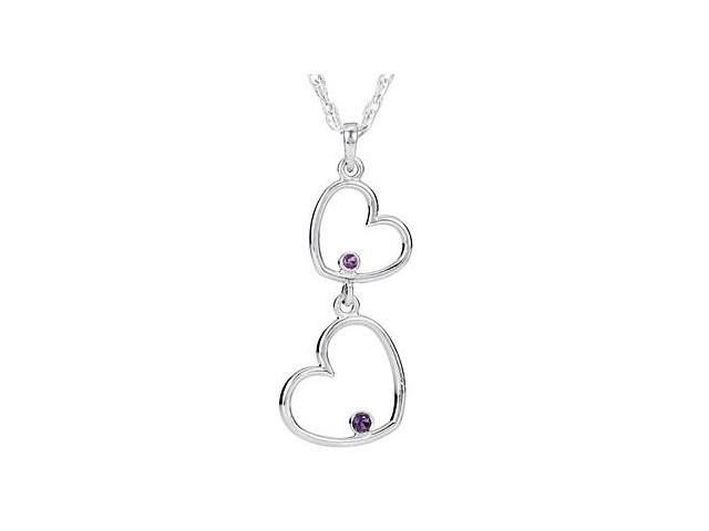 Amethyst with Double Heart Pendant in Rhodium Plating .925 Sterling Silver 18 Inch Chain