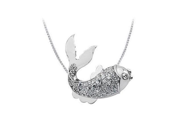 Diamond Fish Pendant  14K White Gold - 1.00 CT Diamonds