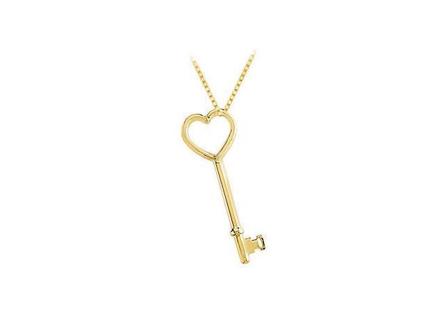 14K Yellow Gold Heart Key Pendant