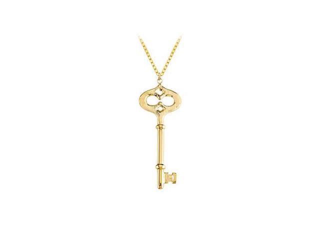 14K Yellow Gold Key Pendant with Diamond-Cut Finish Design
