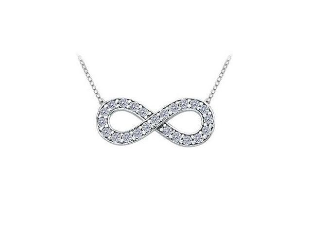 Tiffany Inspired Infinity Pendant with April Birthstone CZ in 14K White Gold 0.25 CT TGW