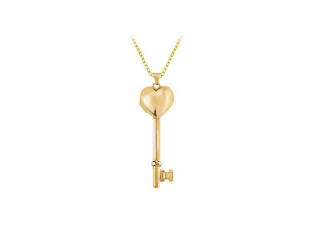 14K Yellow Gold Heart Key Locket Pendant