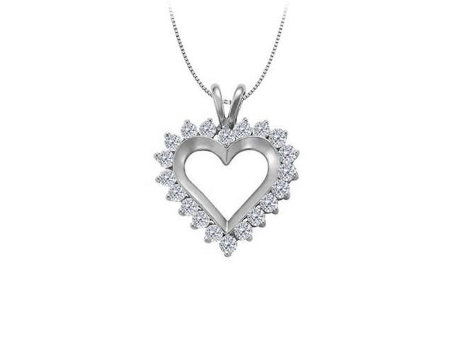 April birthstone Cubic Zirconia Heart Pendant in Sterling Silver 1.00 CT TGW