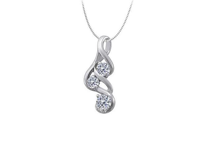 Three Stone Cubic Zirconia Pendant in 14K White Gold 0.33 CT TGW with White Gold Chain