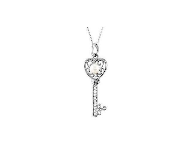 Key to Kindness Necklace in Rhodium Plating Sterling Silver 37.40X14.50 MM with 18 Inch Chain