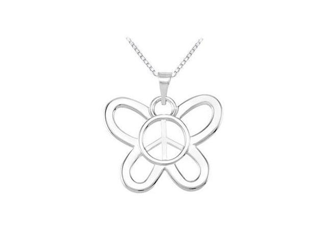 14K White Gold Butterfly Shaped Peace Sign Pendant - 16.00 X 19.50 MM