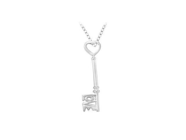 14K White Gold Love is the Key Pendant - 1.50 Inch Long