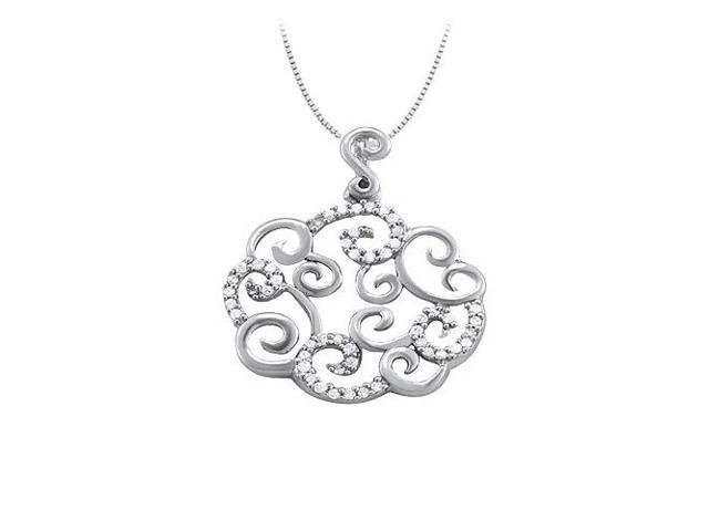 Cubic Zirconia Cloud Circle Shaped Pendant in 14K White Gold 0.25 CT TGW with White Gold Chain