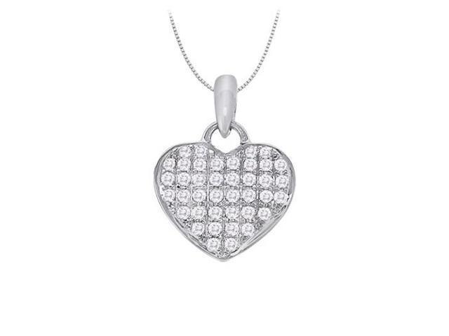 April birthstone Diamond Heart Pendant in 14K White Gold 0.20 CT TDW Valentine Day Love Gift