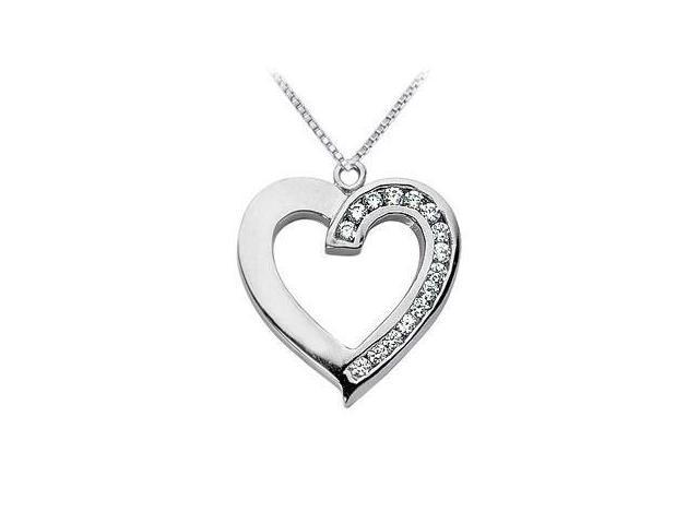 Diamond Heart Pendant  14K White Gold - 0.50 CT Diamonds