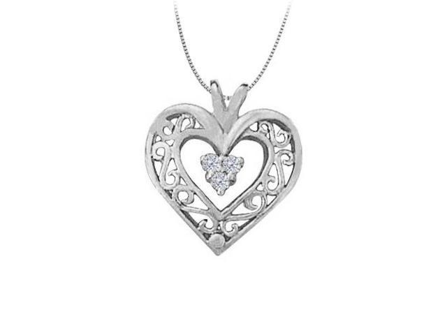 April birthstone Cubic Zirconia Heart Pendant in Sterling Silver 0.05 CT TGW