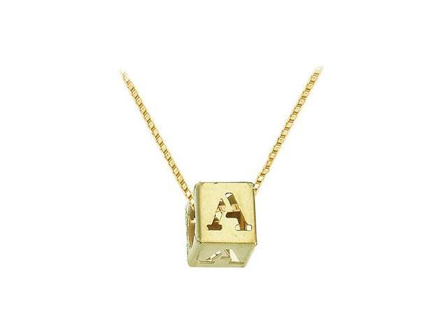14K Yellow  Alphabet  A  Semi-Polished Block Initial Chain Slide Pendant with Outside Diameter