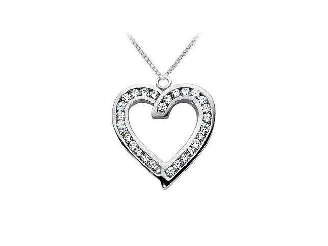 Diamond Heart Pendant  14K White Gold - 1.00 CT Diamonds