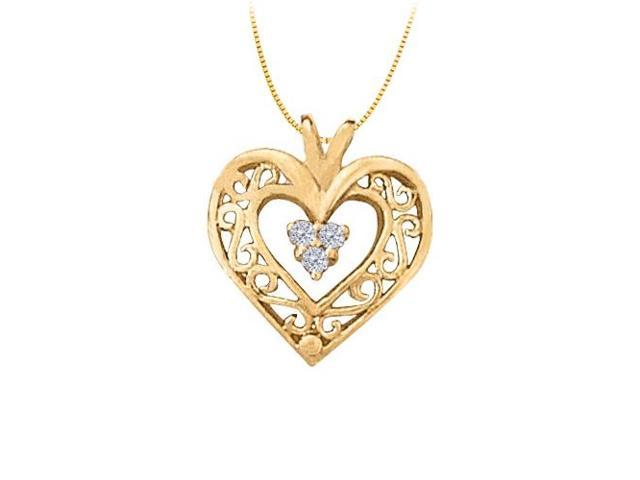 April birthstone CZ Heart Pendant in Sterling Silver with Yellow Gold Vermeil 0.05 CT TGW