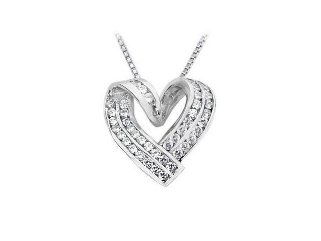 Diamond Heart Pendant  14K White Gold - 1.00 CT Diamonds