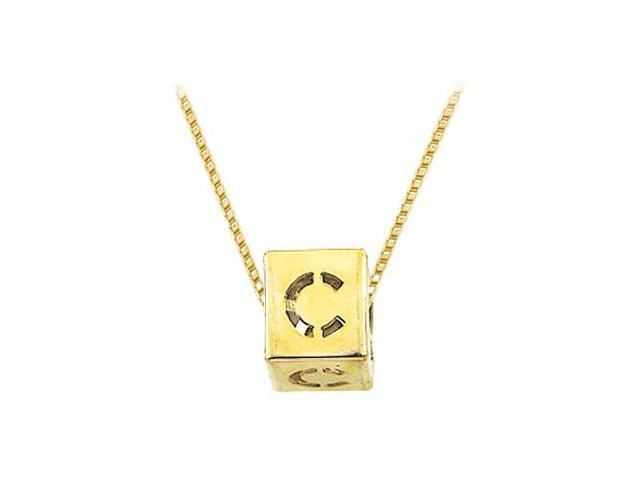 14K Yellow  Alphabet  C  Semi-Polished Block Initial Chain Slide Pendant with Outside Diameter