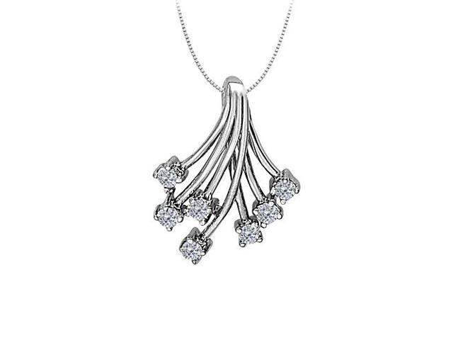 Cubic Zirconia Fashion Shower Pendant in 14K White Gold 0.35 CT TGW with White Gold Chain
