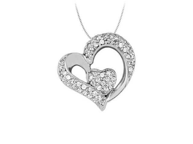 April birthstone Diamond Heart Pendant in 14K White Gold 0.33 CT TDW