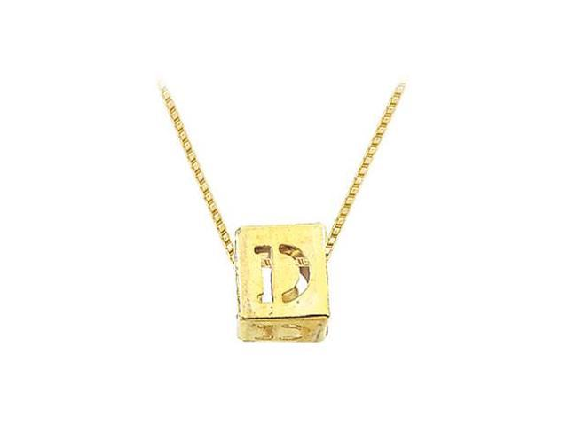 14K Yellow  Alphabet  D  Semi-Polished Block Initial Chain Slide Pendant with Outside Diameter