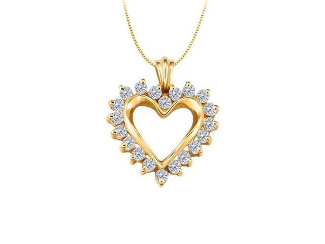 April birthstone CZ Heart Pendant Sterling Silver with Yellow Gold Vermeil 0.50 CT TGW