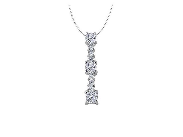 Three stone pendant with Cubic Zirconia in White Gold 1.00 CT TGWJewelry Gift