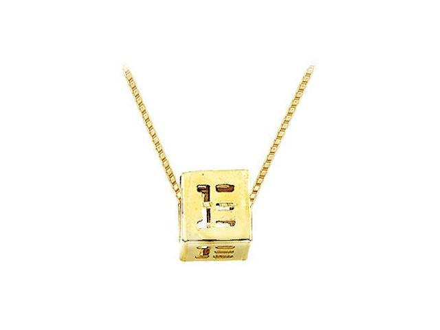 14K Yellow  Alphabet  E  Semi-Polished Block Initial Chain Slide Pendant with Outside Diameter