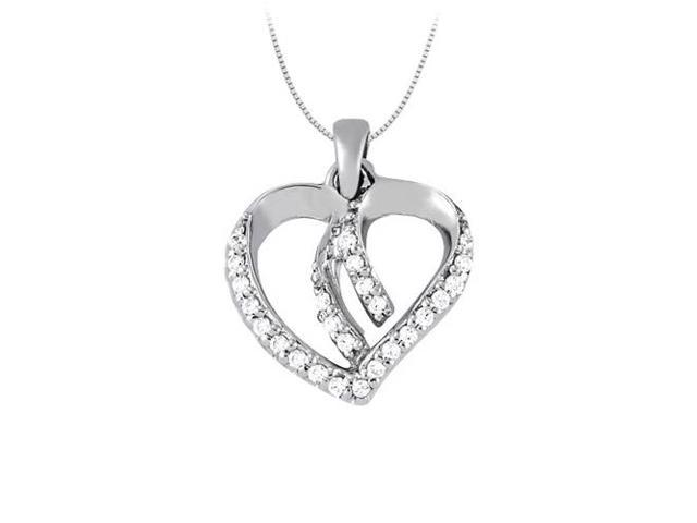 April birthstone Diamond Heart Pendant in 14K White Gold 0.25 CT TDW