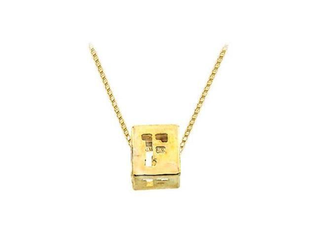 14K Yellow  Alphabet  F  Semi-Polished Block Initial Chain Slide Pendant with Outside Diameter
