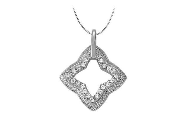 CZ Fashion Pendant Star Like Shape in 14K White Gold 0.25 CT TGW with White Gold Chain