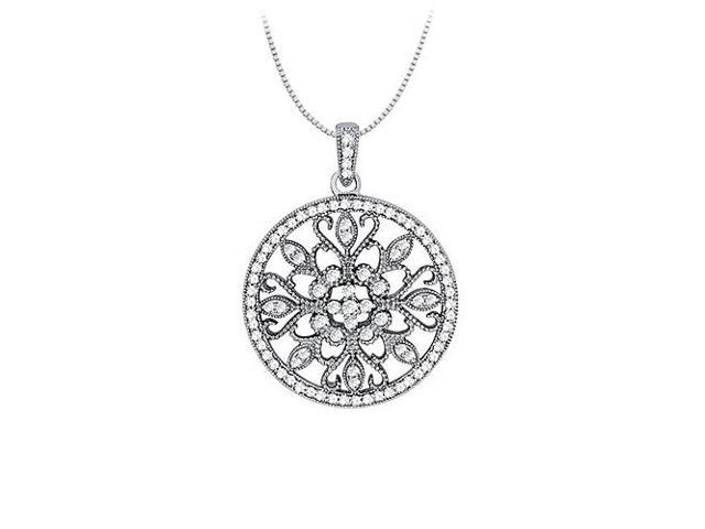 1.00 Carat Total Cubic Zirconia in 14K White Gold Floral Circle Fashion Pendant